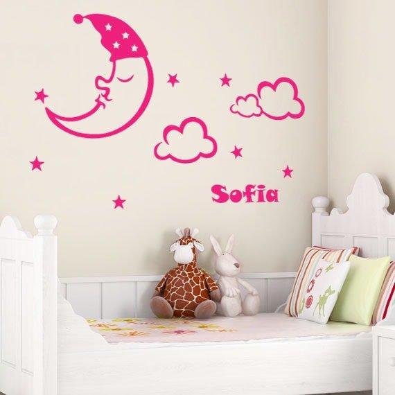 godnat måne, stjerner & eget navn – wowo.dk – wallstickers i god